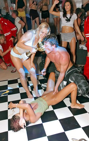 Lewd MILFs have some cock sucking and fucking fun at the sex party
