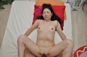 Asian MILF gives a sensual blowjob with ball licking and gets shafted hard