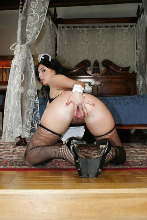 European maid Stracy Stone has no lingerie under her provocative uniform