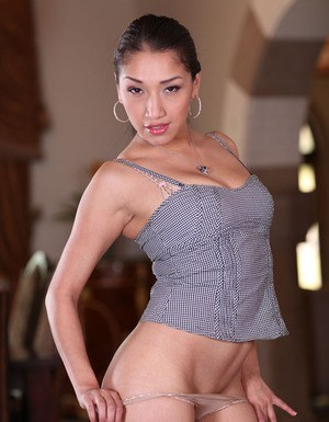 Zoftick asian babe in blue jeans uncovering her luscious curves