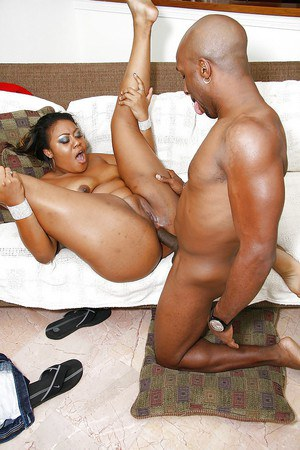 Filthy ebony slut with big ass Vanity Cruz gets her shaved holes cocked up
