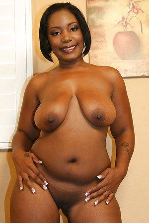 Chubby ebony MILF with flabby tits Pure Shuga getting rid of her bikini