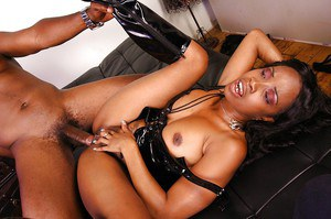 Ebony MILF blows and fucks a huge boner and takes a cumshot on her rack