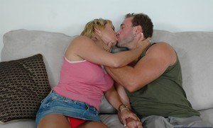 Mature lassie Mrs. Knight gives a sloppy blowjob and gets shafted tough