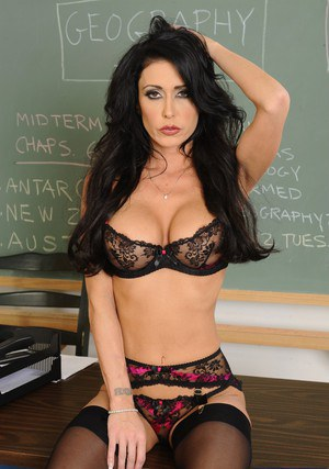 Wooing teacher Jessica Jaymes stripping down in the classroom