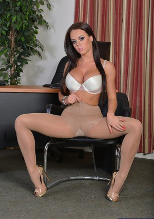 Sexy secretary Rahyndee James getting naked and spreading her legs