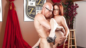 Busty redhead MILF in glasses Ashley Graham gets banged and facialized
