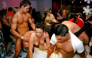 Rammish MILFs have some ball licking and cock fucking fun at the wild party