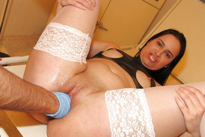 Kinky brunette in stockings enjoys a hardcore role play and tastes a cumshot