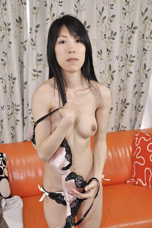 Slippy asian MILF Yuko Mukai stripping down and toying her hairy gash