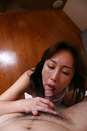 Asian MILF Masae Funakoshi gives head and gets her bushy twat fucked