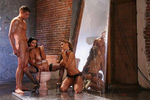 Lecherous latina sluts enjoy a wet FFM groupsex with a studly lad