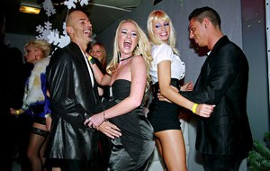 Steamy fashionistas getting down on horny guys at the crazy party