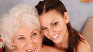 Salacious grannies have a passionate lesbian foursome with teenage girls