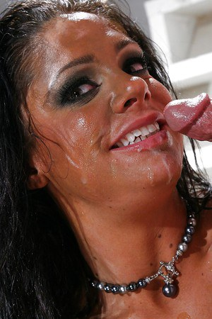 Lewd MILF enjoys hard fucking and gets her eager face glazed with cum