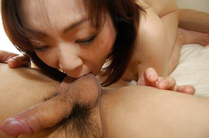 Yoriko Akiyoshi gives a blowjob with ball licking and gets shagged hard