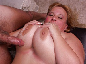 SSBBW star fucks a younger cock and gets her giant jugs glazed with cum