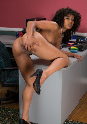 Hot ebony secretary Misty Stone getting naked at her workplace
