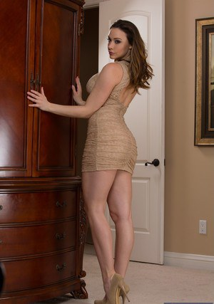 Voluptuous babe Chanel Preston getting rid of her dress and panties