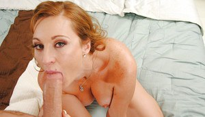 Lecherous cougar Mya Mayes blows and fucks a big young cock