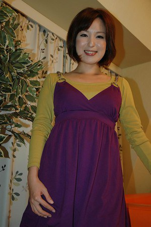 Asian teenage sweetie Kazumi Shindou undressing and playing with her toys