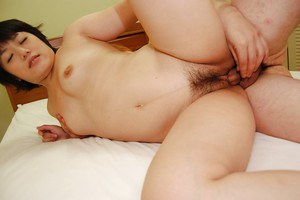 Mature asian slut Akiko Kano gets her hairy cunt fucked and creampied