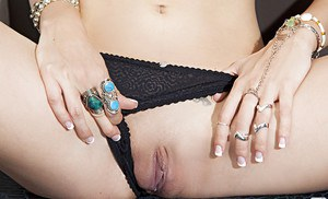 Adorable blonde babe Krissy Hartley slowly uncovering her graceful body