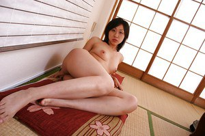 Asian MILF Naomi Matubara undressing and spreading her legs
