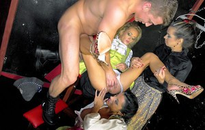 Lustful fetish ladies have foursome CFNM fun with a studly guy