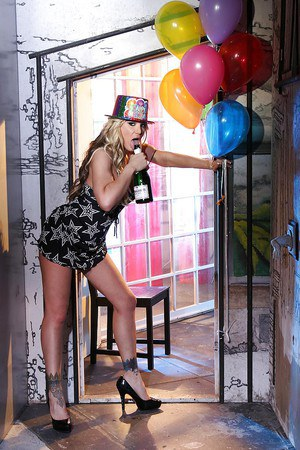 Naughty blonde with big tits is up to have some fun at the birthday party