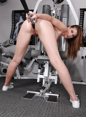 Shae Snow stripping and masturbating her cunt after workout in the gym
