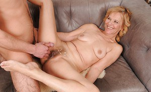 Lusty granny gives some rimming pleasure to a young boy and gets fucked