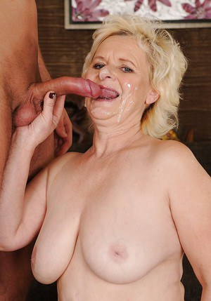 Salacious granny enjoys hardcore fucking and gets her face glazed with cum