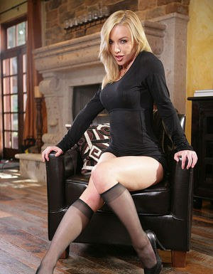 Amazingly sexy blonde in nylon knee socks uncovering her gorgeous curves