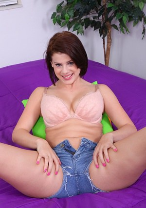 Smiley cutie in jeans shorts Courtney Casey undressing and teasing her gash