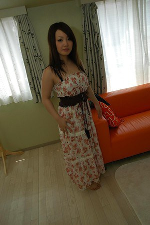 Asian sweetie Nagisa Matsui slipping off her dress and lingerie