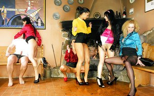 Kinky european pornstars enjoy group fully clothed pissing action