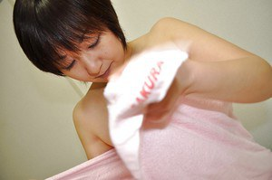 Asian MILF Masae Shimatani has some pussy fingering fun after shower