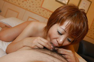 Asian MILF Kyoko Nogi gives a blowjob with ball licking and gets shafted hard