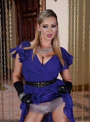 Curvy MILF Abbey Brooks gets rid of her fancy dress and glamorous lingerie