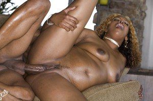 Ebony slut Koko Kabana gets shagged tough and jizzed over her ample butt