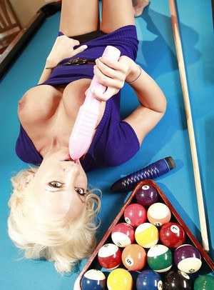 Juggy amateur Devon Alexis playing with her sex toys on a pool table