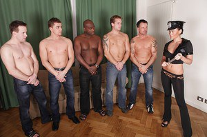 Fake female police officer with big bosoms gets gang banged by well-hung lads