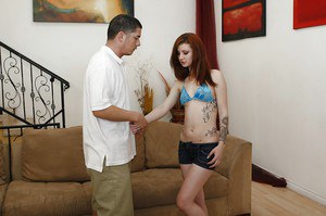 Slippy redhead babysitter Sasha Pain jerks and fucks a huge boner