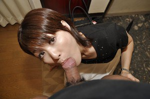 Asian MILF Miki Ando gobbles a fat cock and takes a cumshot in her mouth