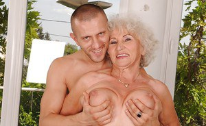 Fatty granny with massive jugs gets fucked and jizzed over her bush