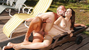Naughty teenage sugar have some dirty fun with a lucky oldman