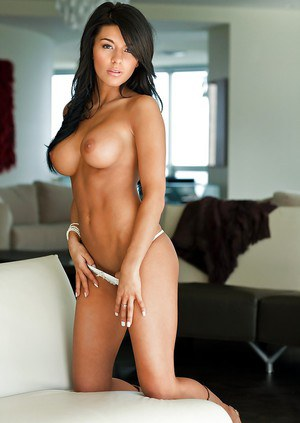 Smiley raven-haired babe Angie Marie revealing her amazingly sexy body
