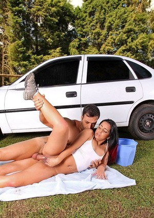 Sassy latina chick Bia Teles gets her holes cocked up outdoor