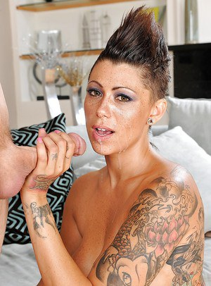 Saucy MILF with tattooes blows and fucks a hard dick for a huge cumshot